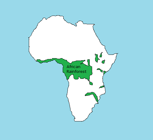 Rainforests In Africa Map Physical Map of Africa and its Rainforests